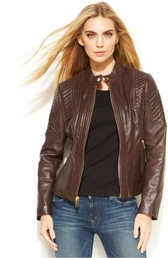 Brown Leather Jacket - MICHAEL Michael Kors Buckle-Collar Quilted Leather Jacket $289