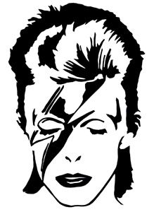 DAVID BOWIE Black Ziggy Stardust Face RUB-ON car window STICKER OFFICIAL MERCH