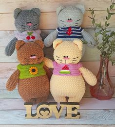 Плюшевые толстые котики Crochet Cat Toys, Crochet Teddy Bear Pattern, Diy Crafts Crochet, Crochet Animal Patterns, Crochet Bear, Crochet Patterns Amigurumi, Cute Crochet, Halloween Toys, Fabric Toys