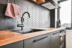 Modern kitchen with edge grain butcher block countertop