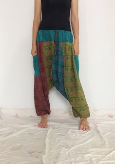 Mixed Colors  Hippie Harem Pants, Unisex Pants, Drop Crotch Pants, Baggy Pants with Om patterned (HR-529) by ThaiFascinate on Etsy
