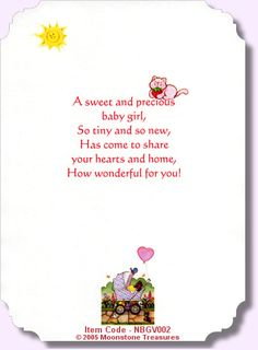 Baby shower card saying ideas for baby shower cards pinterest card sentiments new baby girl verse m4hsunfo Image collections
