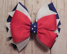 4th of July Hair Bow - Fourth of July Hair Bow- 4 - Red, White and Blue - Ready To Ship via Etsy, $5.00