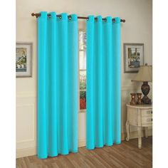 From Amazon 2 Piece Solid Aqua Blue Faux Silk Grommet Curtain Panel 58 By  84 Inch