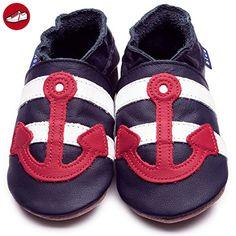 Inch Blue Jungen Schuhe für den Kinderwagen aus luxuriösem Leder - Weiche Sohle - Anker Dunkelblau & Rot (*Partner-Link)