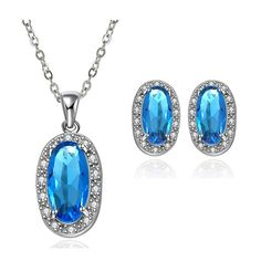 Exquisite Big Turquoise Rhinestone 18K Gold Plated Pendant and Earrings Set