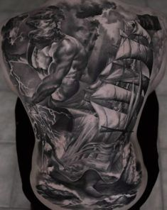 Breathtaking Full Back Poseidon Tattoo