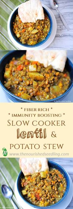 Protein and fiber filled lentils pair up with both Yukon Gold and sweet potatoes, with hints of cumin, garlic and turmeric, making for a hearty and nutritiously delicious stew!