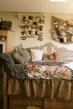 Tan vintage or rustic college dorm room inspiration. That's a great paper headboard as well, cheap and much lighter!