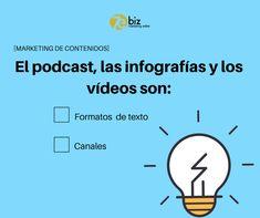 ¿Qué son el podcast, las infografías y los vídeos: formatos de texto o canales de comunicación?  #marketingdecontenidos #marketingonline #estrategiadecontentmarketing #contentmarketing