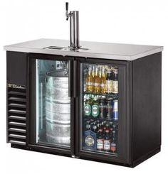 True 49 inch Back Bar Direct Draw Kegerator Beer Dispenser with Two Glass Doors and LED Lighting Wine And Beer Fridge, Keg Fridge, Bar Refrigerator, Man Cave Refrigerator Ideas, Beer Cooler, Beer Keg, Home Bar Designs, Back Bar, Beer Taps