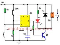 ON-OFF Switch circuit using a 555 timer. This circuit is usefull on places where we want to activate and deactivate an electrical or electronic device. Simple Electronics, Hobby Electronics, Electronics Basics, Electronics Components, Electronics Projects, Electronic Kits, Electronic Circuit Projects, Electronic Schematics, Electronic Engineering