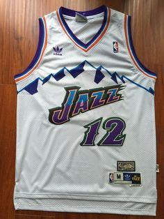 5701a4deccc Men 12 John Stockton Jersey White Utah Jazz Jersey Throwback Swingman