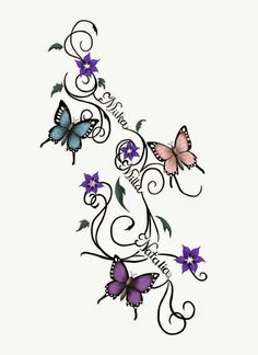 I want a tattoo something like this on my back with my kids names. I would like it to go across instead of down though.