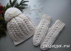 """Klobouk a rukavice s jehlicemi """"Sněhové bílé vzorky"""""""