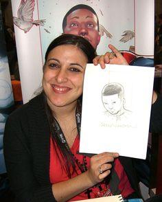 Comics creator Sara Pichelli holding up a sketch of Mile Morales Comic Books Art, Comic Art, Book Art, Sara Pichelli, I Go Crazy, Miles Morales, Marvel, Book Images, Spiderman