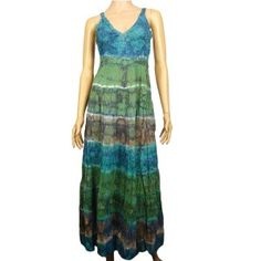 This light weight long skirt has a deep v neckline. It is sleeveless and has exposed back. It has pleats as well as pattern of colors that are beautiful. The skirt dries quickly.
