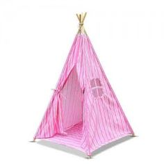 4 Poles Childs Teepee Kids Play Tent Canvas Indoor Outdoor Tipi Playhouse Pink & White