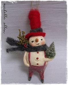 BOY ONLY! Folk Art Primitive paper clay Snowman doll Christmas tree Ornament or bowl filler Dress n red wool hat Handmade  by Michelle Allen