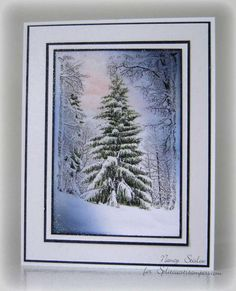 - O Winter Trees by - Cards and Paper Crafts at Splitcoaststampers Christmas Greeting Cards, Christmas Greetings, Handmade Christmas, Christmas Crafts, Winter Trees, Winter Cards, Penny Black, Cool Cards, Card Making