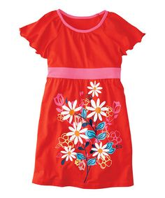 Loving this Tangy Red Floral Bright Side Dress - Infant, Toddler & Girls on #zulily! #zulilyfinds