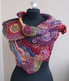 spring Handmade freeform crochet scarf by handmadestreet101