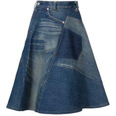 Junya Watanabe Comme Des Garçons High-Waisted a-Line Skirt ($308) ❤ liked on Polyvore featuring skirts, blue, cotton skirt, knee length a line skirt, high rise skirts, high waisted a line skirt and blue skirt