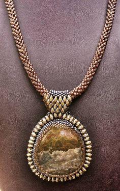 Jasper pendant, beadwork, bead embroidery.