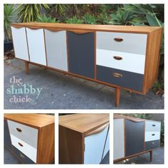 Mid century Chiswell buffet, given a retro-modern makeover. Painted in Murobond chalk paint in shades of white and grey.   Hand painted by the shabby chick   www.facebook.com/shabbychick