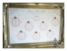 Embellished seating plan with roses, Swarovski hearts and pearls