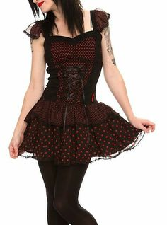 Black and red punk dress