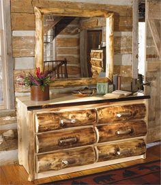 Elk Antler Aspen Log 6 Drawer Dresser