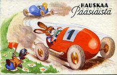 Kirjavälitys Oy, #pääsiäinen #postikortit #puput #autot #Easter