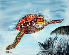 Turtle Painting - I Beleive I Can Fly by Maria Barry Sea Turtle Art, Sea Turtles, Turtle Sketch, Turtle Painting, Watercolor Animals, Diy Painting, Art Forms, Palm Trees, Fine Art America