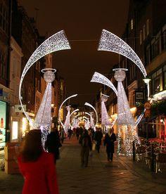 Christmas lights near Oxford Street, London UK by beatbull, via Flickr