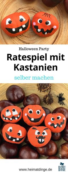 Making Chestnuts - Halloween Games for Kids - With this homemade game you br Halloween Party Kinder, Halloween Games For Kids, Halloween 2020, Holidays Halloween, Diy Halloween, Conkers, Childrens Party, Small Gifts, Art For Kids