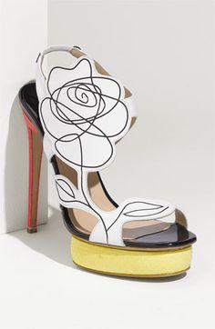 nicholas kirkwood flower sandal. love the pop of color in the platform and heel vs. the black & white flower