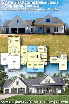 House Plan 51816HZ gives you 2,700+ square feet of living space with 4+ bedrooms and 3.5+ baths. AD House Plan #51816HZ #adhouseplans #architecturaldesigns #houseplans #homeplans #floorplans #homeplan #floorplan #houseplan Modern Farmhouse Plans, Farmhouse Homes, Modern House Plans, Alternate Exterior, Open Living Area, Roof Plan, Manzanita, Craftsman House Plans, Walk In Pantry