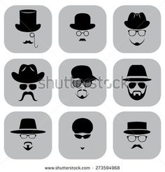 A set of flat icons. Silhouette of a man wearing a hat, with glasses, with a beard and mustache. Vektor illustration.