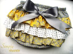 Baby Girl Bloomer--diaper cover--Mustard Yellow and Grey--ruffle diaper cover--Mustard and Grey Bloomer--Fall--Baby Girl Fall on Etsy, $20.00