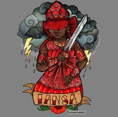I A N S Ã by Bruno Barelli. Iansã é a senhora dos ventos da tempestade. Ela é valente, tem um temperamento forte e independente.