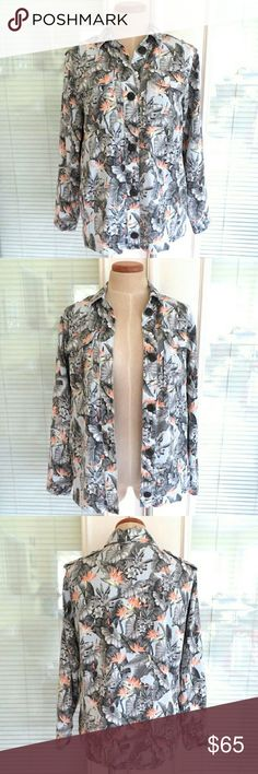 Topshop Floral Foliage Print Utility Jacket. 6 New and never worn. Extra buttons included. No defects. Pictures really don't do this jacket justice.. really cool jacket. 100% lyocell.  Approximately 20.5 inches across armpit seam to armpit seam, 27.5 inches long, and 16.5 inches across shoulder seam to shoulder seam. Topshop Jackets & Coats Utility Jackets