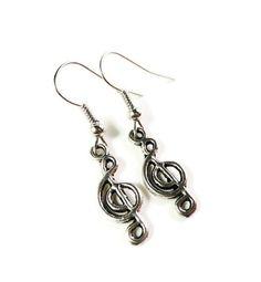 Music Note Earrings Clef Note Earrings by BusyBeeBeadedJewelry