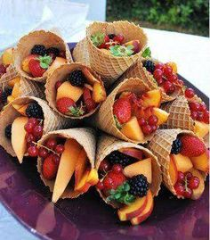 Wouldn't these fruit filled cones be fun at a picnic? Or a shower? or....