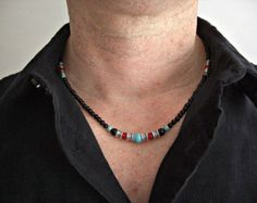 Items similar to Faceted Black Lace Agate,Tiger Eye,Silver Accents Men's Necklace, Men's Jewelry on Etsy