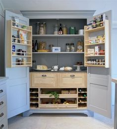 Get Information home decorations ideas and Free standing pantry design kitchen pantry cabinets larder cupboard wooden shelves Home Kitchens, Kitchen Design, Kitchen Inspirations, Kitchen Renovation, Small Kitchen, Home Decor Kitchen, Victorian Kitchen, Kitchen Cupboards, Kitchen Cabinets