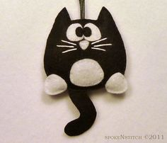 felt ornaments | Tuxedo Cat Felt Christmas Ornament Licorice the by SpokenStitch