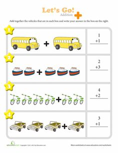 These colorful worksheets are a great way for kindergartners to visualize addition. They get to see illustrations of some of their favorite animals, food, and other items added together so that they can better understand how solving the problem using numbers actually works!