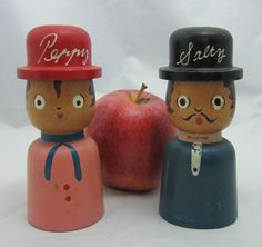Peppy and Salty Vintage Wooden Japan Salt and Pepper Shakers. Mom had ones very similar