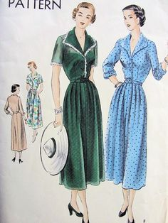 1940s LOVELY SHIRT DRESS PATTERN SOFT LINES, PERFECT FOR SHEER FABRICS VOGUE PATTERNS 6784